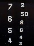 A parede de aço do metal velho do grunge com números texture o backgr abstrato Imagem de Stock Royalty Free