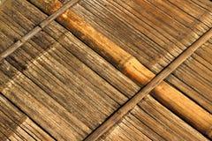 Parede de bambu velha E madeira do assoalho Fotografia de Stock Royalty Free