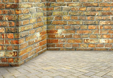 A parede de canto vazia envelheceu o fundo sujo sujo velho do vintage Em Fotografia de Stock Royalty Free