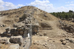 Parede de Castel e fortaleza na cidade bíblica antiga de Lachish, hoje telefone Lachish Foto de Stock Royalty Free