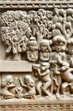 Parede de cinzeladura budista das artes no templo antigo, Chiang Mai, THAIL Imagem de Stock