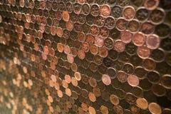 Parede de cobre da moeda de um centavo Imagem de Stock