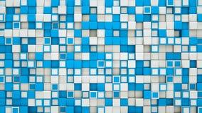 A parede de 3D azul e branco cuba o fundo abstrato Fotos de Stock