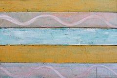 Parede de madeira colorida velha com teste padrão Fotografia de Stock