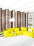 Parede de madeira do design de interiores mínimo do quarto, sofá amarelo e copyspace em um quadro vazio rendição 3d ilustração 3D Fotografia de Stock Royalty Free