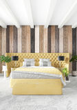 Parede de madeira do design de interiores mínimo do quarto, sofá amarelo e copyspace em um quadro vazio rendição 3d ilustração 3D Imagem de Stock