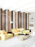 Parede de madeira do design de interiores mínimo do quarto, sofá amarelo rendição 3d ilustração 3D Fotografia de Stock