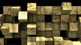 A parede de madeira dos cubos cai distante ilustração royalty free