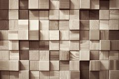 Parede de madeira dos quadrados fotografia de stock