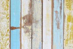 A parede de madeira pintada velha Fotografia de Stock Royalty Free