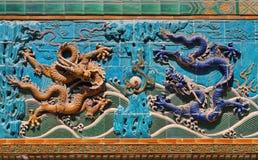 Parede de nove dragões Fotografia de Stock
