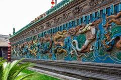 A parede de nove dragões de Pingyao é um dos três ainda existentes em China Sabido como um do melhor fotos de stock royalty free