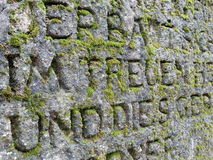 parede de pedra coberta com o musgo Foto de Stock