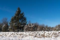 Parede de pedra coberto de neve e um céu azul Imagem de Stock Royalty Free
