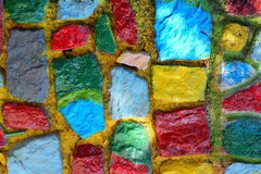 Parede de pedra colorida do bloco Fotografia de Stock