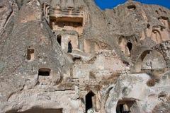 Parede de pedra da casa da caverna da vila de povos pobres Foto de Stock Royalty Free