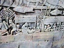 Parede de pedra de Siem Reap que cinzela o detalhe imagens de stock