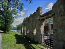 Parede de pedra do moinho velho Fotos de Stock Royalty Free