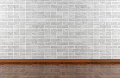 Parede de pedra e assoalho de parquet brancos Imagens de Stock