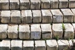 Parede de pedra e ervas daninhas pisadas nas quebras Imagem de Stock