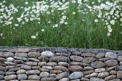 Parede de pedra de Gabion Foto de Stock