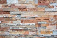 Parede de pedra Textura do fundo da parede de tijolo de Brown Fotos de Stock