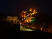Parede de Reat da porcelana Badaling iluminada na noite Fotos de Stock Royalty Free