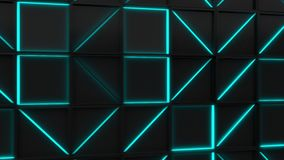 Parede de telhas pretas do retângulo com elementos de incandescência azuis video estoque