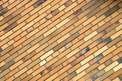 Parede de tijolo alaranjada, fundo, textura Imagens de Stock Royalty Free