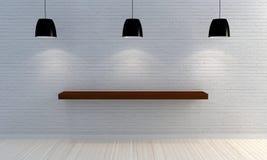 Parede de tijolo branca com prateleiras de madeira Fotografia de Stock