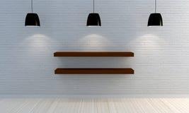 Parede de tijolo branca com prateleiras de madeira Fotos de Stock
