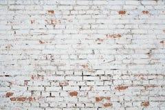 Parede de tijolo branca rachada do grunge textured fotos de stock