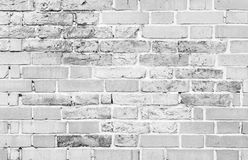 Parede de tijolo branca velha, textura detalhada do fundo foto de stock
