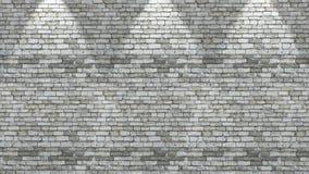 parede de tijolo 3D com os três projetores que brilham para baixo ilustração stock
