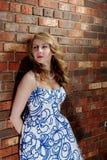 Parede de tijolo da beleza dos olhos azuis Imagem de Stock Royalty Free