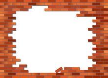 A parede de tijolo desmoronou Fotos de Stock Royalty Free