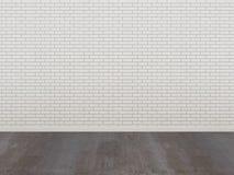 Parede de tijolo e assoalho brancos da madeira em uma sala vazia Fotografia de Stock Royalty Free