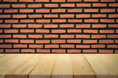 Parede de tijolo e assoalho da madeira para o fundo Fotografia de Stock Royalty Free