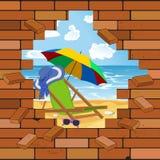 Parede de tijolo e praia na quebra, ilustração do vetor ilustração do vetor