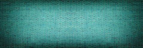 Parede de tijolo escura larga de turquesa - fundo retro do grunge Imagem de Stock