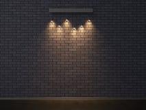 Parede de tijolo escura vazia iluminada 3D que ilustra Fotos de Stock Royalty Free