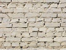 Parede de tijolo muito velha pintada com pintura bege clara Imagem de Stock