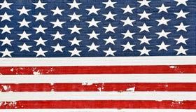 Parede de tijolo pintada da bandeira americana fotos de stock