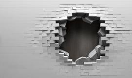 Parede de tijolo quebrada com placa de metal atrás Imagem de Stock Royalty Free