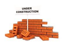 Parede de tijolo sob a construção Imagens de Stock Royalty Free