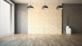 Parede de tijolo vazia do whith da sala Fotos de Stock Royalty Free
