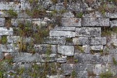 Parede de tijolo velha antiga do templo fotografia de stock