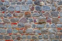 Parede de tijolo vermelha e cinzenta Imagens de Stock