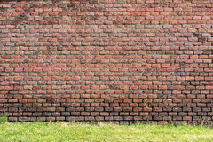 Parede de tijolo vermelho-alaranjada velha e um gramado 2 fotografia de stock royalty free
