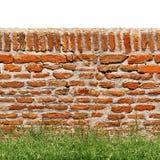 Parede de tijolo vermelho com a grama verde isolada no branco Fotos de Stock